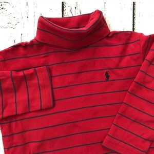 Polo Ralph Lauren Red Blue Striped Turtleneck 3T